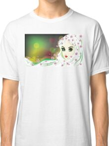 Floral Girl with White Hair Classic T-Shirt