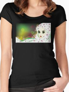 Floral Girl with White Hair Women's Fitted Scoop T-Shirt