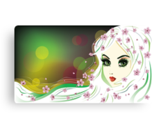Floral Girl with White Hair Canvas Print