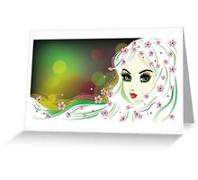 Floral Girl with White Hair Greeting Card