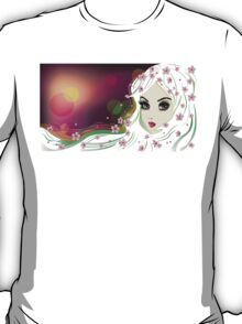 Floral Girl with White Hair 2 T-Shirt