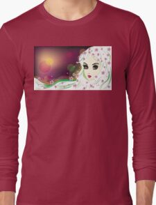 Floral Girl with White Hair 2 Long Sleeve T-Shirt