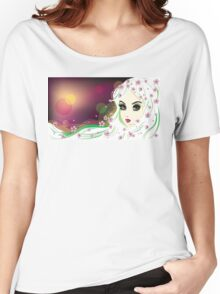 Floral Girl with White Hair 2 Women's Relaxed Fit T-Shirt