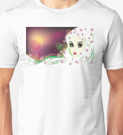 Floral Girl with White Hair 2 Unisex T-Shirt