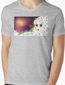 Floral Girl with White Hair 2 Mens V-Neck T-Shirt