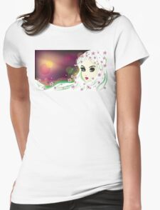 Floral Girl with White Hair 2 Womens Fitted T-Shirt