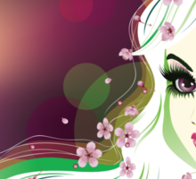 Floral Girl with White Hair 2 Sticker