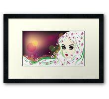 Floral Girl with White Hair 2 Framed Print