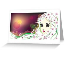 Floral Girl with White Hair 2 Greeting Card