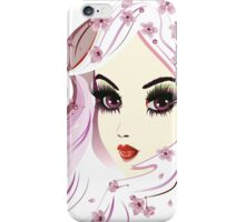 Floral Girl with White Hair 3 iPhone Case/Skin
