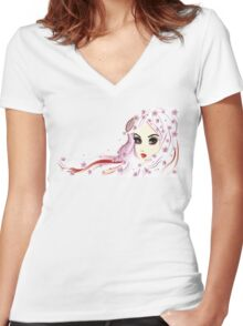 Floral Girl with White Hair 3 Women's Fitted V-Neck T-Shirt