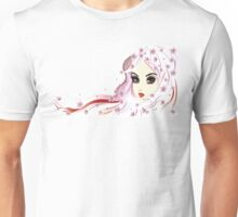 Floral Girl with White Hair 3 Unisex T-Shirt