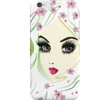 Floral Girl with White Hair 4 iPhone Case/Skin
