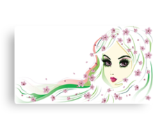 Floral Girl with White Hair 4 Canvas Print