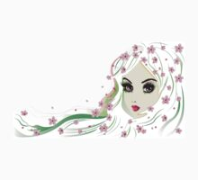 Floral Girl with White Hair 4 Kids Clothes