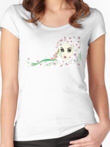 Floral Girl with White Hair 4 Women's Fitted Scoop T-Shirt