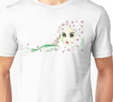 Floral Girl with White Hair 4 Unisex T-Shirt
