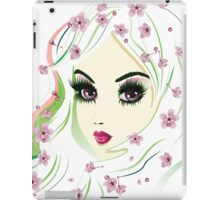 Floral Girl with White Hair 4 iPad Case/Skin