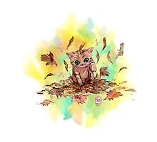 Kitty cat playing in a pile of leaves. Autumn Photographic Print