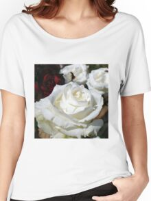 Close up of white rose 16 Women's Relaxed Fit T-Shirt