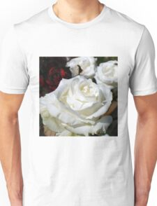 Close up of white rose 16 Unisex T-Shirt