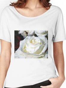 Close up of white rose 17 Women's Relaxed Fit T-Shirt