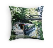 Murrays Bridge,  River Wey Navigation, Byfleet, Surrey Throw Pillow