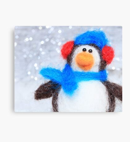 Cute Winter Penguin Funny Holiday Art Canvas Print