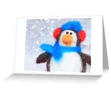 Cute Winter Penguin Funny Holiday Art Greeting Card