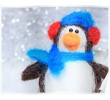 Cute Winter Penguin Funny Holiday Art Poster