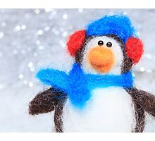 Cute Winter Penguin Funny Holiday Art Photographic Print