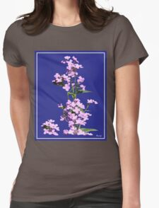 Pink flowers in blue back ground Womens Fitted T-Shirt