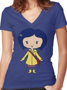 Coraline - Lil' CutiE Women's Fitted V-Neck T-Shirt