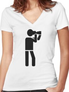 Photographer logo Women's Fitted V-Neck T-Shirt