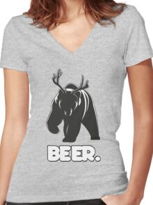 Beer! The Alcoholic Bear Deer Women's Fitted V-Neck T-Shirt