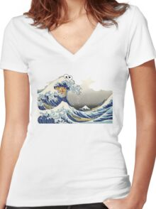 Cookie wave monster Women's Fitted V-Neck T-Shirt