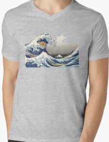 Cookie wave monster Mens V-Neck T-Shirt