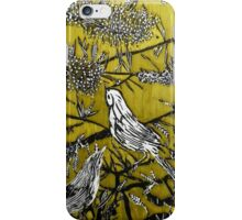 Australian Bird Woodcut 2 (Pale Olive) iPhone Case/Skin