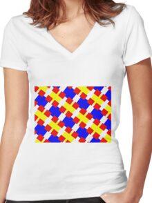 BLOCKS-2 Women's Fitted V-Neck T-Shirt