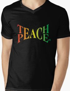 Teach Peace Mens V-Neck T-Shirt