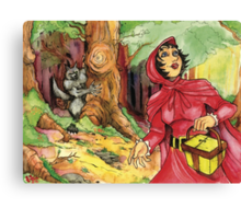 Red Riding Hood in the Woods Canvas Print
