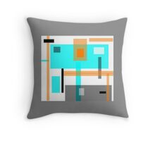 block art, ABSTRACT, aquamarine, grey and tan Throw Pillow