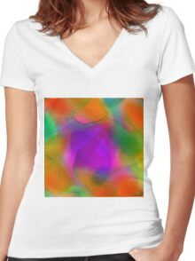 """"""" Sunset. Pure sky, the orange disk is tangent on the horizon""""  Women's Fitted V-Neck T-Shirt"""
