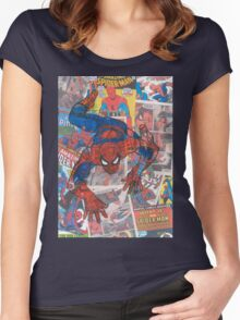 Vintage Comic Spiderman Women's Fitted Scoop T-Shirt