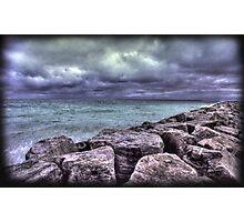 Storm Over the Jetty, Lake Michigan Photographic Print