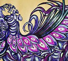 Sleeping Purple Peacock by Amber Elizabeth Lamoreaux