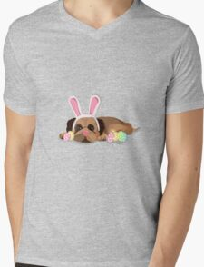 Easter Pug Mens V-Neck T-Shirt