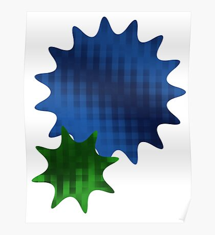Spike Stars Blue and Green Poster