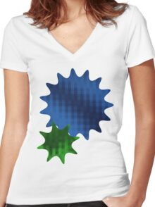 Spike Stars Blue and Green Women's Fitted V-Neck T-Shirt