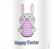 Happy Easter Bunny Rabbit with Easter Egg Poster